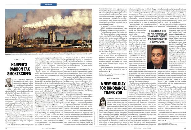 Article Preview: HARPER'S CARBON TAX SMOKESCREEN, October 2012 | Maclean's