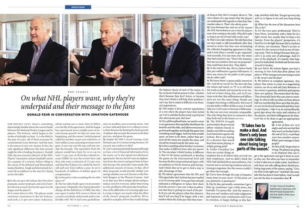 Article Preview: On what NHL players want, why they're underpaid and their message to the fans, October 2012 | Maclean's