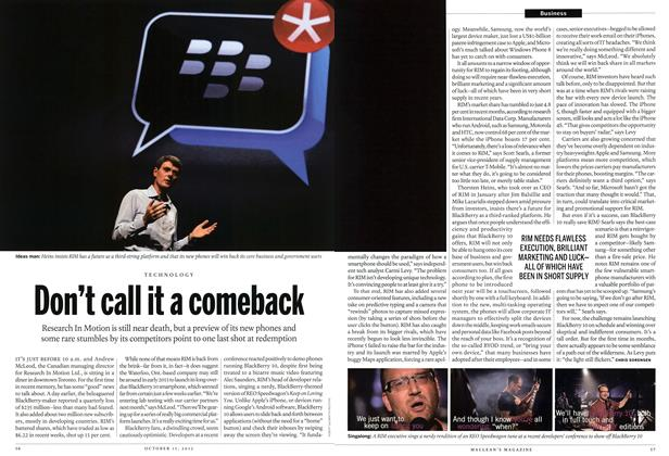 Article Preview: Don't call it a comeback, October 2012 | Maclean's