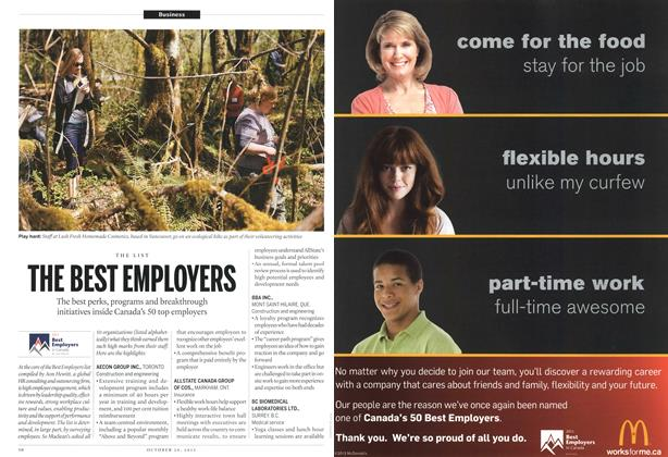 Article Preview: THE BEST EMPLOYERS, October 2012 | Maclean's