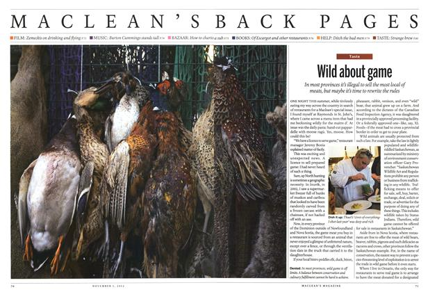 Article Preview: Wild about game, November 2012 | Maclean's