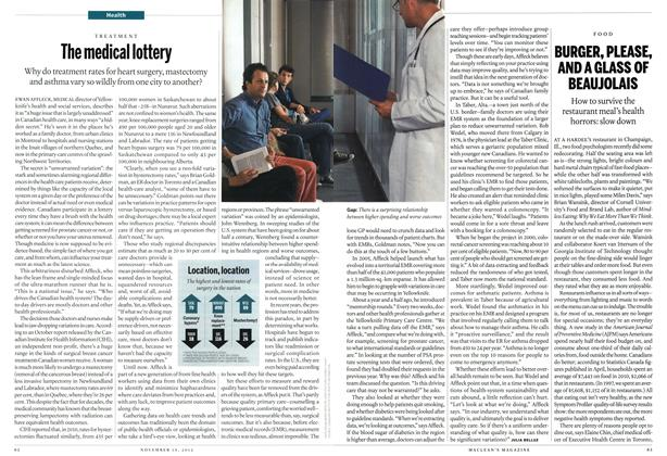Article Preview: The medical lottery, November 2012 | Maclean's
