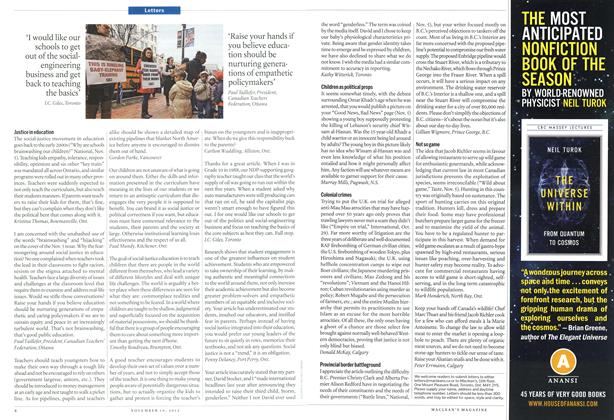 Article Preview: Letters, November 2012 | Maclean's