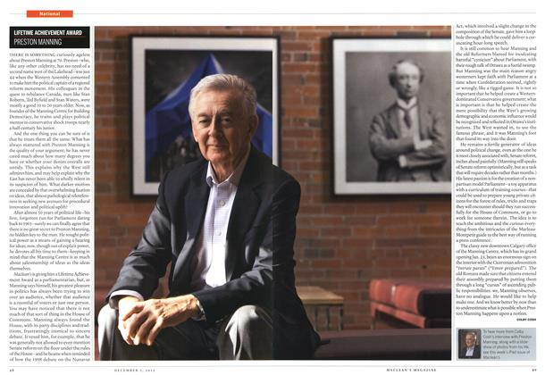 Article Preview: LIFETIME ACHIEVEMENT AWARD PRESTON MANNING, December 2012 | Maclean's