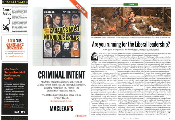 Article Preview: Are you running for the Liberal leadership?, December 2012 | Maclean's