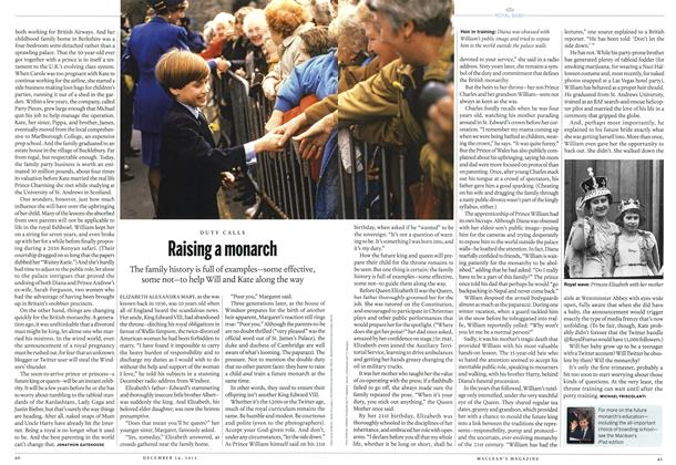 Article Preview: Raising a monarch, December 2012 | Maclean's