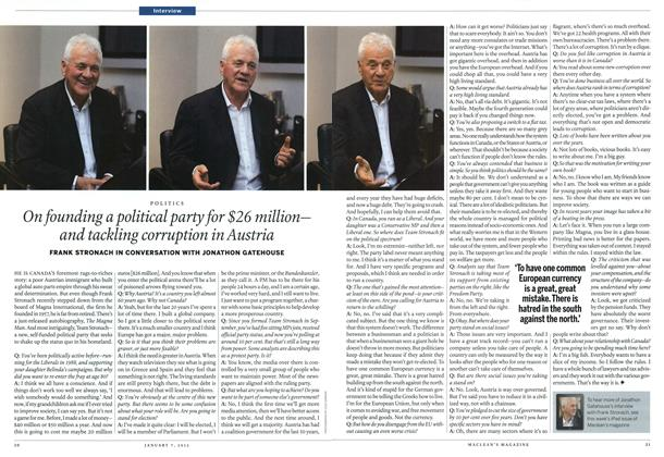 Article Preview: On founding a political party for $26 million— and tackling corruption in Austria, January 2012 | Maclean's