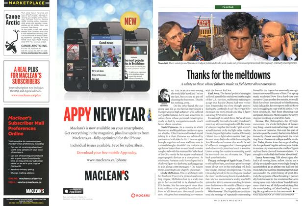 Article Preview: Thanks for the meltdowns, January 2013 | Maclean's
