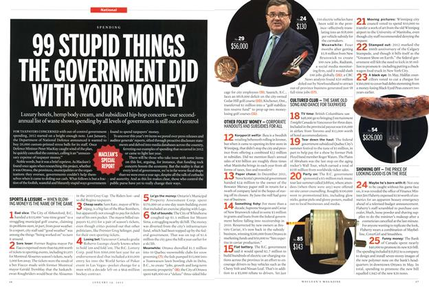 Article Preview: 99 STUPID THINGS THE GOVERNMENT DID WITH YOUR MONEY, January 2013 | Maclean's