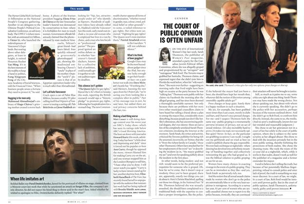Article Preview: THE COURT OF PUBLIC OPINION IS OFTEN UNFAIR, March 2013 | Maclean's