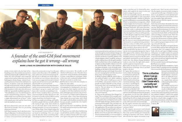 Article Preview: A founder of the anti-GM food movement explains how he got it wrong—all wrong, March 2013 | Maclean's