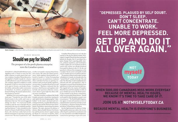Article Preview: Should we pay for blood?, April 2013 | Maclean's