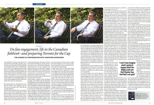 Article Preview: On fan engagement, life in the Canadian fishbowl—and preparing Toronto for the Cup, May 2013 | Maclean's