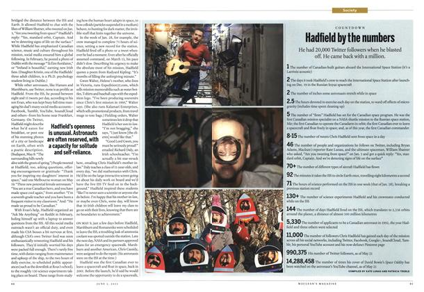 Article Preview: Hadfield by the numbers, June 2013 | Maclean's