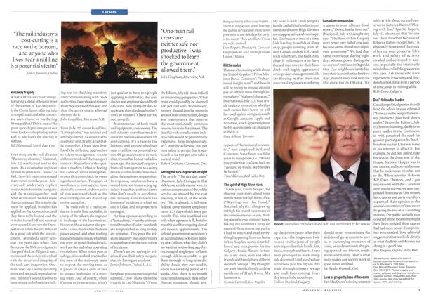 Article Preview: Letters, August 2013 | Maclean's