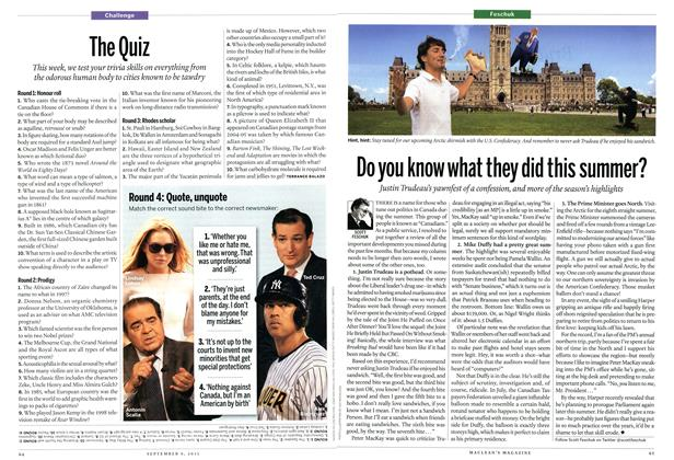 Article Preview: Do you know what they did this summer?, September 2013 | Maclean's