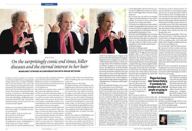 Article Preview: On the surprisingly comic end times, killer diseases and the eternal interest in her hair, September 2013   Maclean's