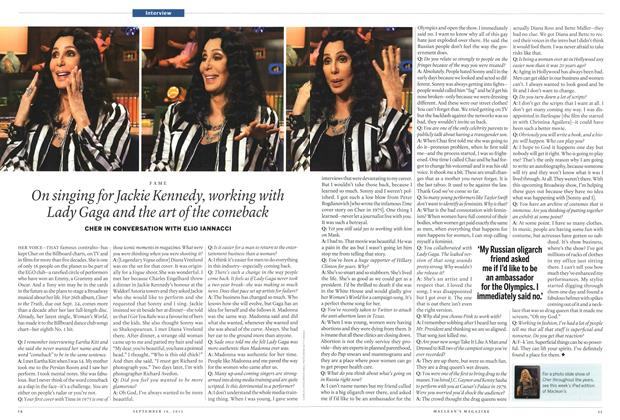 Article Preview: On singing for Jackie Kennedy, working with Lady Gaga and the art of the comeback, September 2013 | Maclean's