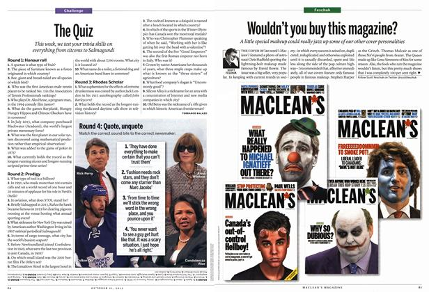 Article Preview: The Quiz, October 2013 | Maclean's