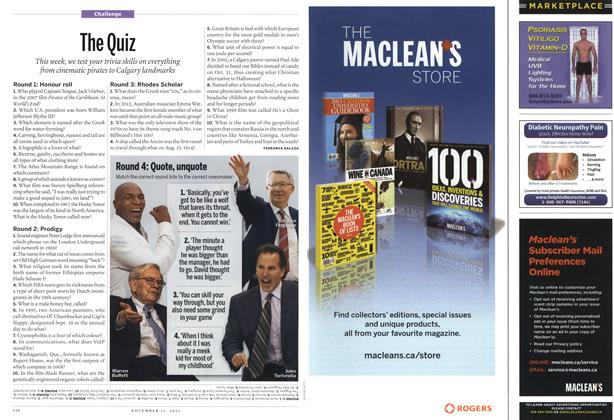 Article Preview: The Quiz, November 2013 | Maclean's