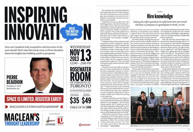 Article Preview: Hire knowledge, November 2013 | Maclean's