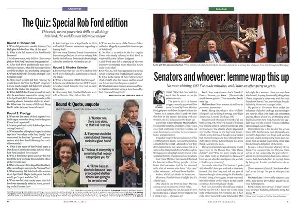 Article Preview: The Quiz: Special Rob Ford edition, December 2013   Maclean's