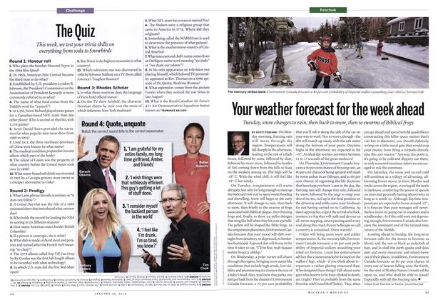 Article Preview: The Quiz, January 2014 | Maclean's