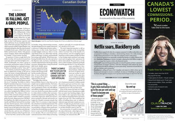 Article Preview: THE LOONIE IS FALLING. GET A GRIP, PEOPLE., February 2014 | Maclean's