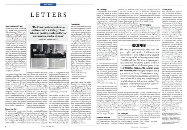 Article Preview: LETTERS, February 2014 | Maclean's