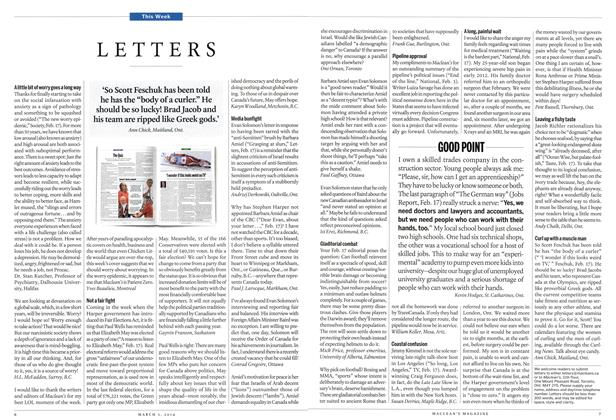 Article Preview: LETTERS, March 2014 | Maclean's