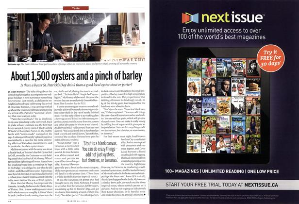 Article Preview: About 1,500 oysters and a pinch of barley, March 2014 | Maclean's
