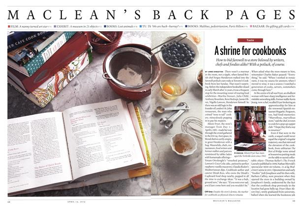 Article Preview: A shrine for cookbooks, April 2014 | Maclean's