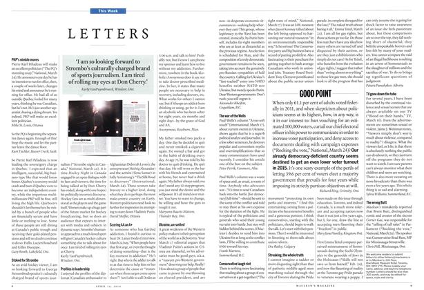 Article Preview: LETTERS, April 2014 | Maclean's