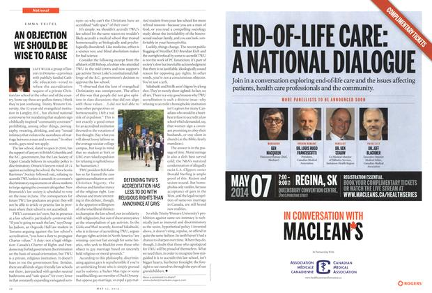 Article Preview: AN OBJECTION WE SHOULD BE WISE TO RAISE, May 2014 | Maclean's