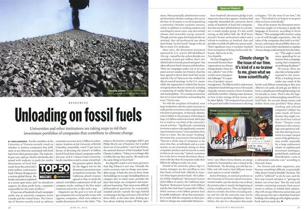Article Preview: Unloading on fossil fuels, June 2014 | Maclean's