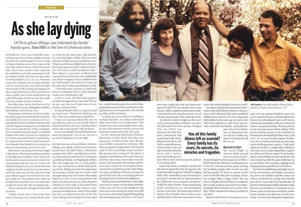 Article Preview: As she lay dying, July 2014 | Maclean's