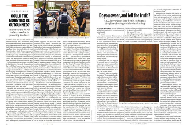 Article Preview: COULD THE MOUNTIES BE OUTGUNNED?, July 2014 | Maclean's