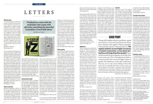 Article Preview: LETTERS, August 2014 | Maclean's
