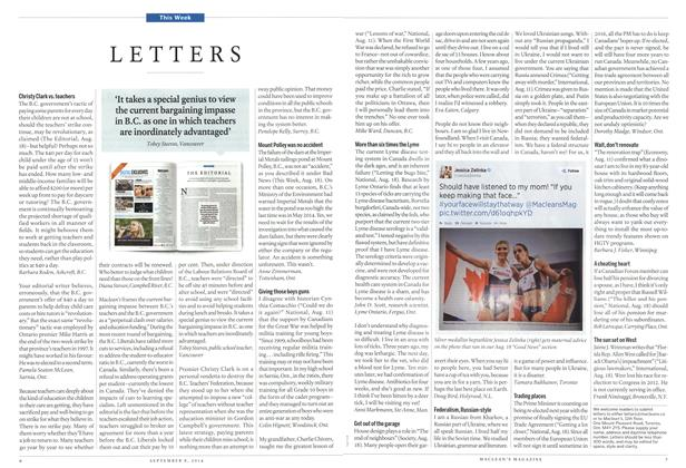 Article Preview: LETTERS, September 2014 | Maclean's