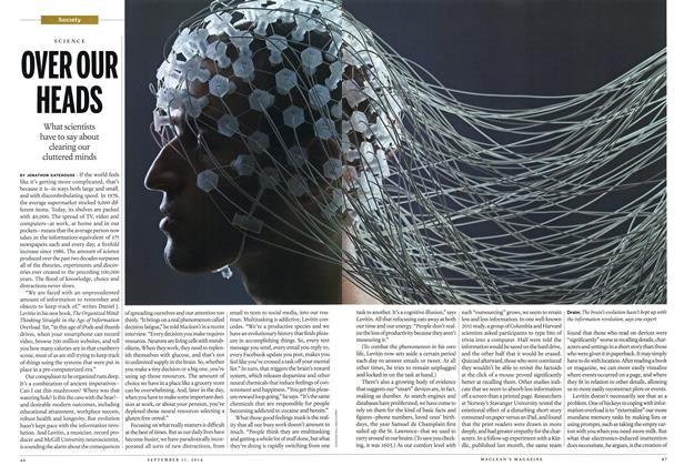 Article Preview: OVER OUR HEADS, September 2014 | Maclean's