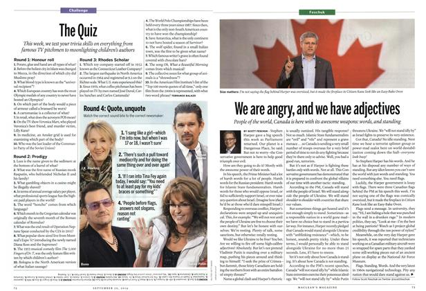 Article Preview: We are angry, and we have adjectives, September 2014 | Maclean's