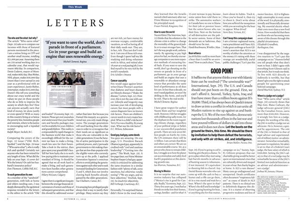 Article Preview: LETTERS, October 2014 | Maclean's
