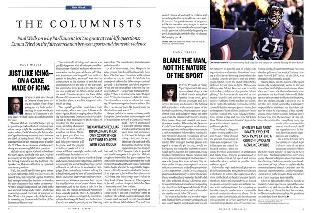 Article Preview: BLAME THE MAN, NOT THE NATURE OF THE SPORT, October 2014 | Maclean's