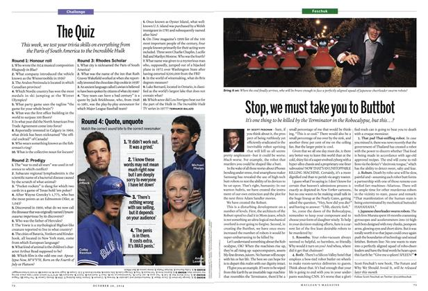 Article Preview: The Quiz, October 2014 | Maclean's