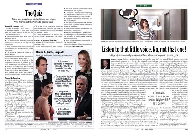 Article Preview: The Quiz, November 2014 | Maclean's