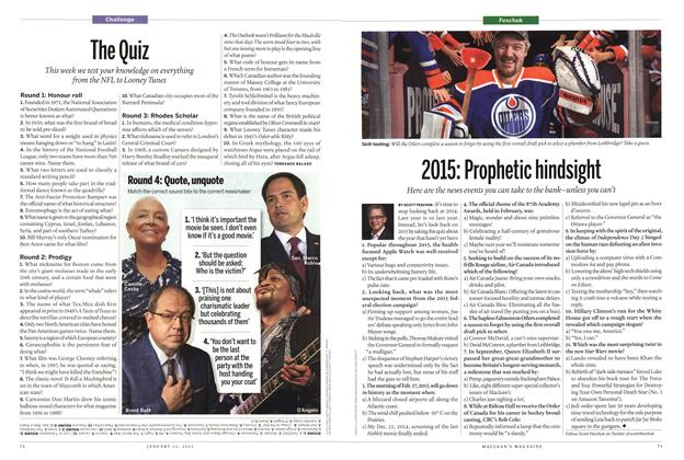 Article Preview: The Quiz, January 2015 | Maclean's