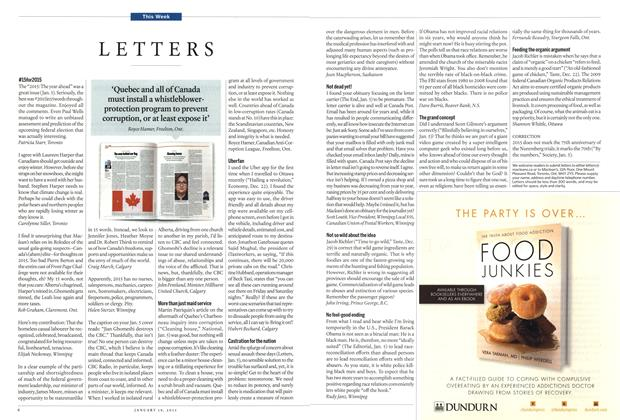 Article Preview: LETTERS, January 2015 | Maclean's