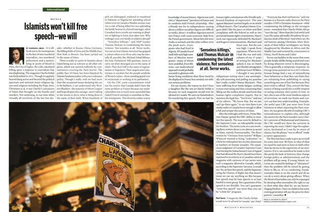 Article Preview: Islamist's won't kill free speech-we will, January 2015 | Maclean's