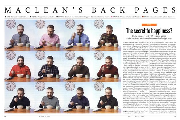 Article Preview: The secret to happiness?, March 2015 | Maclean's