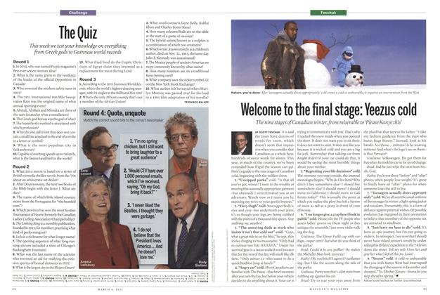 Article Preview: Welcome to the final stage: Yeezus cold, March 2015 | Maclean's